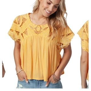 NWT Rip Curl Seaview Cutwork Top Yellow Small